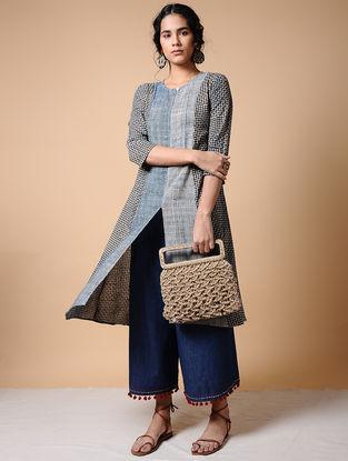Indigo-Black Dabu-printed Cotton Kurta with Pockets