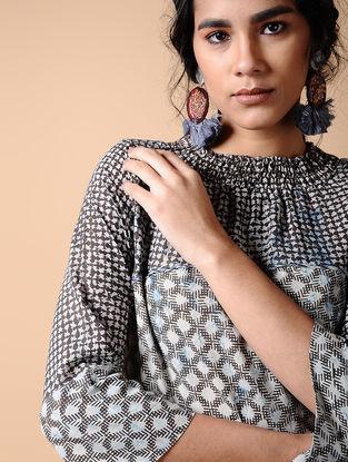 Indigo-Black Dabu-printed Cotton Dress with Smocking