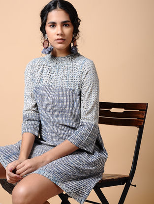 Indigo Dabu-printed Cotton Dress with Smocking