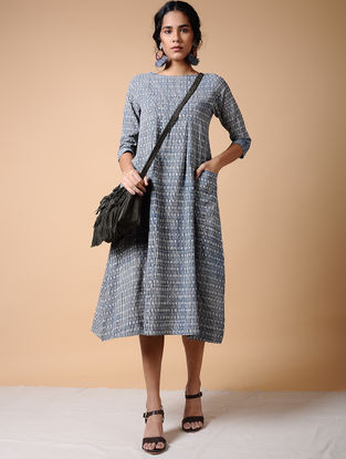 Indigo Dabu-printed Cotton Dress with Pockets