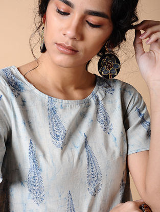 Indigo-Ivory Dabu-printed Cotton Kurta with Pockets