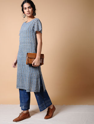 Indigo Dabu-printed Cotton Kurta with Pockets