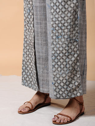 Indigo Elasticated-waist Dabu-printed Cotton Pants with Tie-up Belt