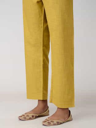 Yellow Tie-up Waist Cotton Slub Pants