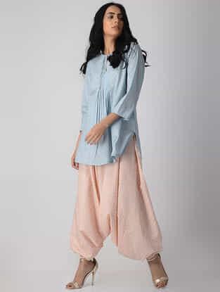 Blue Khari-printed Cotton Short Kurta with Pleats
