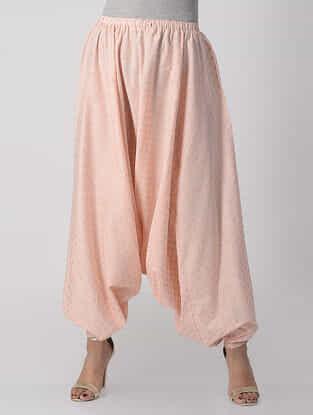 Peach Elasticated-waist Khari-printed Cotton Afghan Pants