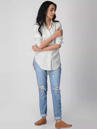 White Khari-printed Cotton Collard Shirt