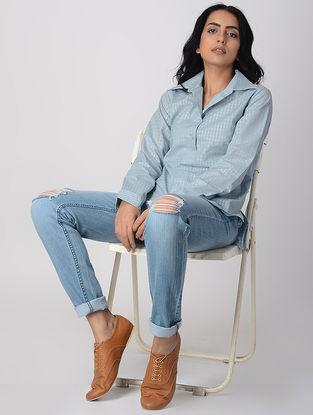 Blue Khari-printed Cotton Collard Shirt