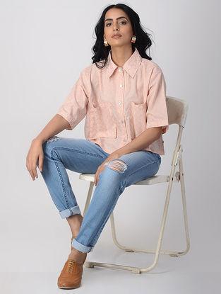 Peach Khari-printed Cotton Shirt with Pockets
