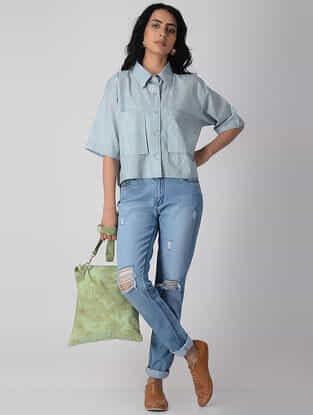 Blue Khari-printed Cotton Shirt with Pockets