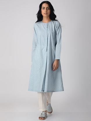 Blue Khari-printed Cotton Front-open Kurta