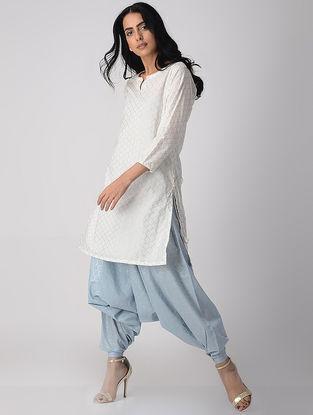 White Khari-printed Cotton Short Kurta with Tassels