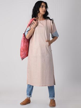Peach-Blue Khari-printed Cotton Kurta with Pockets