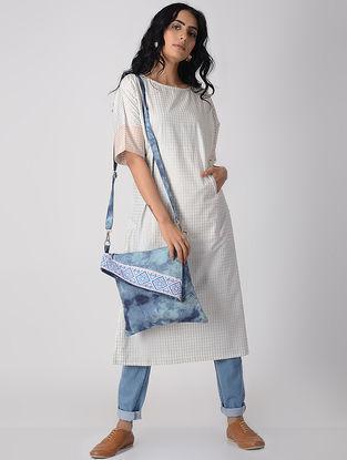 White-Peach Khari-printed Cotton Kurta with Pockets