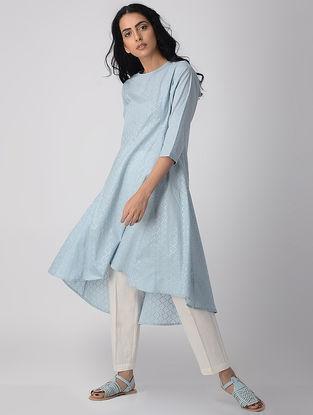 Blue Khari-printed Cotton Kurta