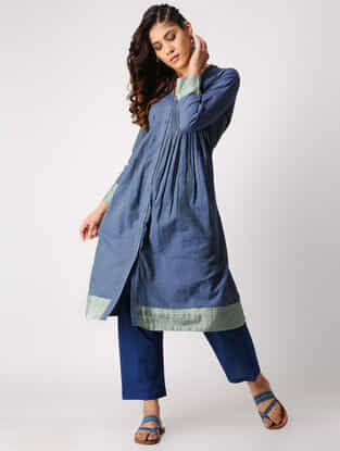 Blue-Green Pintuck Handloom Cotton Kurta with Silk Trim by Jaypore