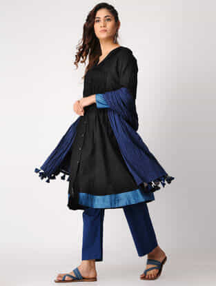 Black-Blue Pintuck Handloom Cotton Kurta with Silk Trim by Jaypore