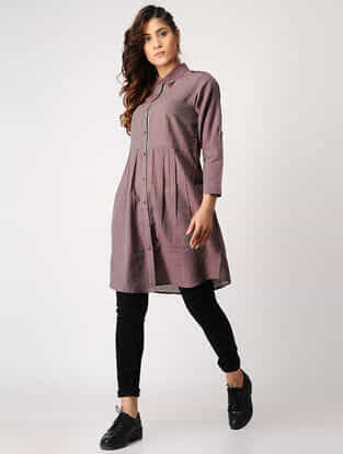 Purple Button-down Handloom Cotton Tunic with Silk Trim by Jaypore