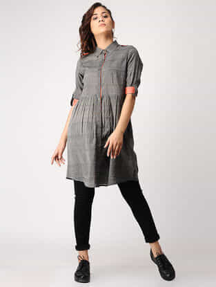 Grey-Orange Button-down Handloom Cotton Tunic with Silk Trim by Jaypore