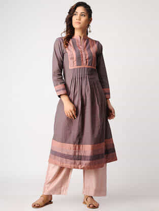 Purple-Orange Handloom Cotton Kurta with Silk Trim by Jaypore