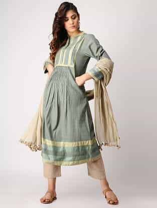 Green Handloom Cotton Kurta with Silk Trim by Jaypore