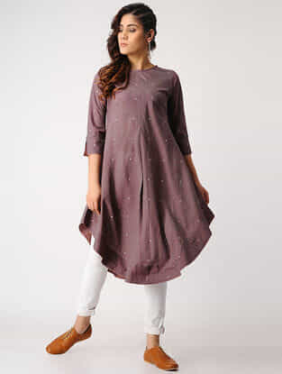 Purple Handloom Cotton Kurta with Silk Trim by Jaypore