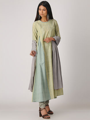 Green Handloom Cotton Kurta with Pleats