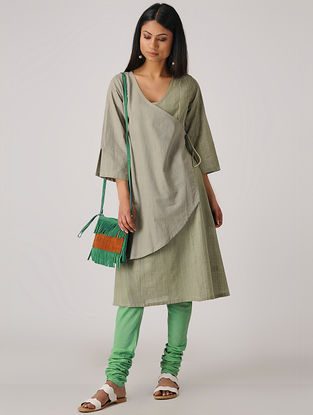 Grey-Green Handloom Cotton Tie-up Kurta