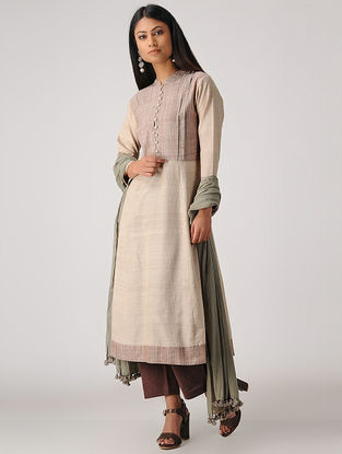 Brown Handloom Cotton Kurta with Pleats