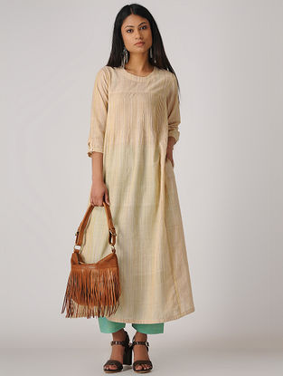 Yellow Handloom Cotton Kurta with Pintucks