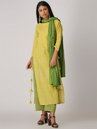 Yellow Handloom Cotton Kurta with Tassels