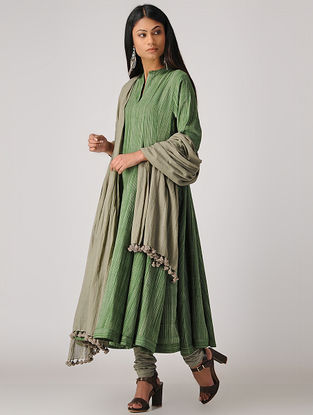 Green Handloom Cotton Kalidar Kurta
