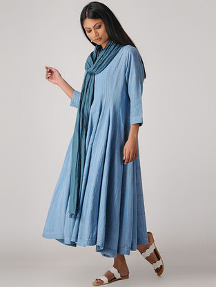 Blue Handloom Cotton Kalidar Kurta