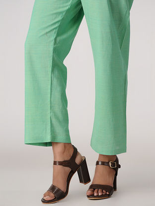 Green Tie-up Waist Handloom Cotton Pants