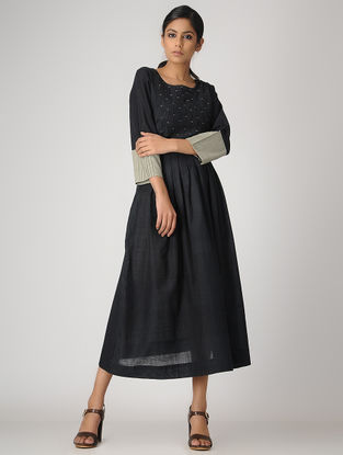 Black Handloom Cotton Pleated Dress by Jaypore