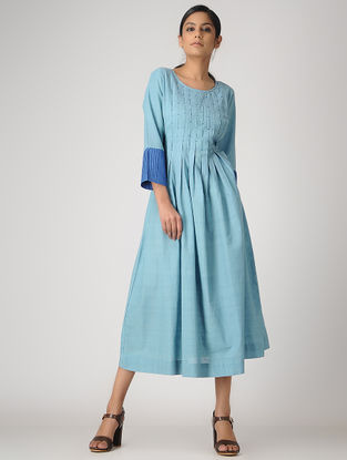 Blue Handloom Cotton Pleated Dress by Jaypore