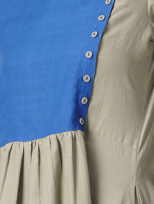 Beige-Blue Handloom Cotton Kurta with Gathers by Jaypore