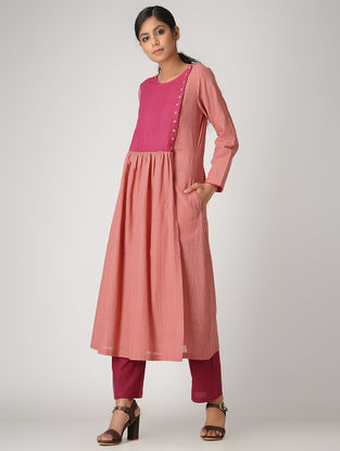 Peach Handloom Cotton Kurta with Gathers by Jaypore