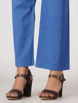 Blue Tie-up Waist Handloom Cotton Pants by Jaypore