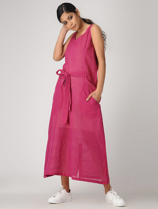 Pink Handloom Cotton Dress with Belt by Jaypore