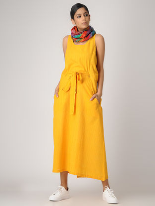 Yellow Handloom Cotton Dress with Belt by Jaypore