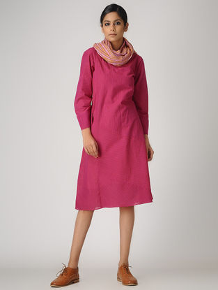 Pink Handloom Cotton Dress by Jaypore