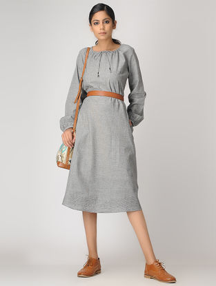 Grey Handloom Cotton Dress by Jaypore