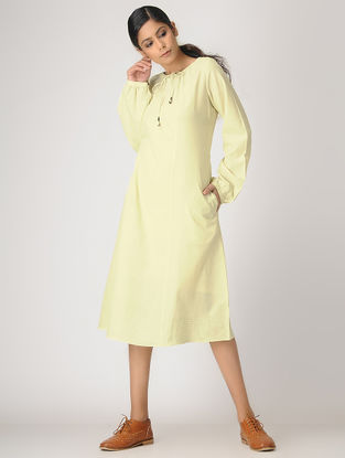 Yellow Handloom Cotton Dress by Jaypore