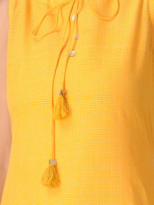 Yellow Handloom Cotton Dress with Tassels by Jaypore