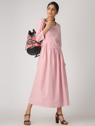 Pink Handlom Cotton Dress with Gathers and Pleats by Jaypore