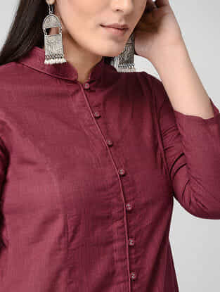 Maroon Front-open Cotton Slub Kurta with Pockets