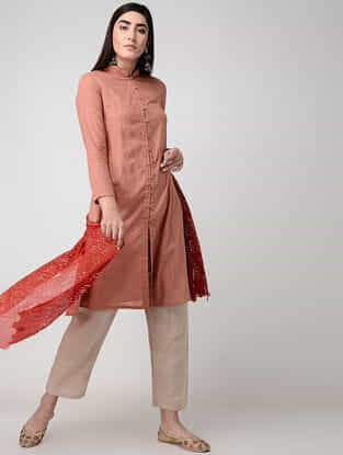 Peach Front-open Cotton Slub Kurta with Pockets