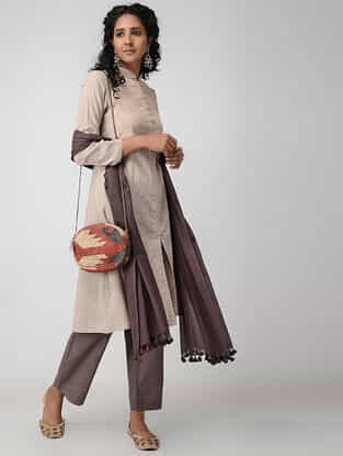 Beige Front-open Cotton Slub Kurta with Pockets