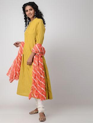 Yellow Cotton Slub Kurta with Pockets